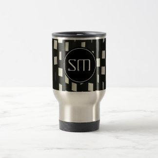Black Squares with Personal Initials - Travel Mug
