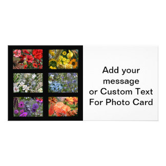 Black Stained Glass Window Flower Garden Picture Card