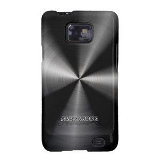 Black Stainless Steel Metal Pattern  -Monogram Samsung Galaxy SII Covers