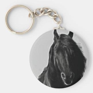 Black Stallion Basic Round Button Key Ring