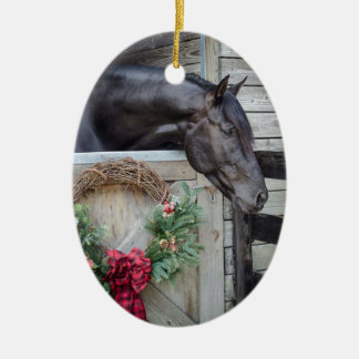 Black Stallion Christmas Ceramic Oval Decoration