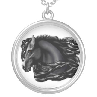 Black Stallion, Friesian Round Pendant Necklace