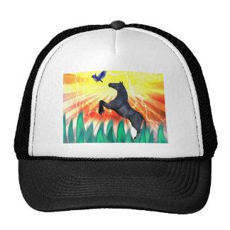 Black stallion horse rearing, flame grass trucker hat