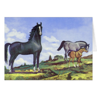 Black Stallion, Mare and Colt Greeting Card