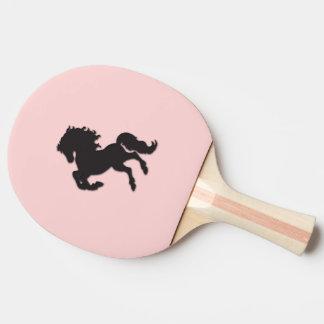 Black Stallion on Pink Ping Pong Paddle