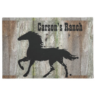 Black Stallion, Wild Horse Silhouette, Custom Doormat