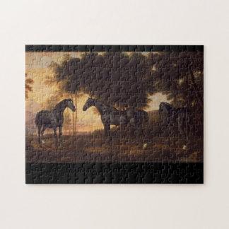 Black Stallions Vintage Painting by George Stubbs Jigsaw Puzzle