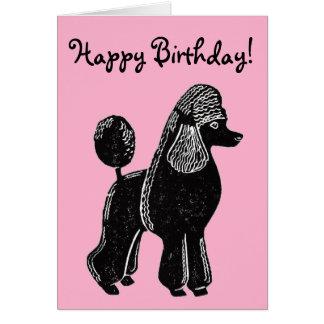 Black Standard Poodle Pink Happy Birthday Card
