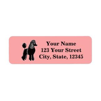 Black Standard Poodle Pink Return Address Labels