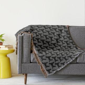 Black Standard Poodle Silhouettes Pattern Throw Blanket