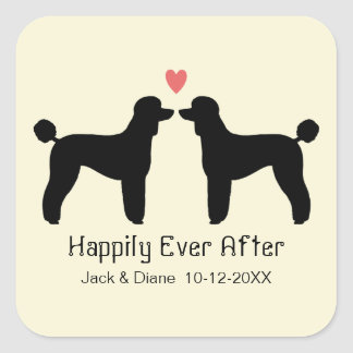 Black Standard Poodles with Heart and Text Square Sticker