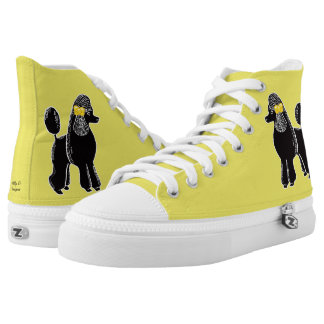 Black Standard Poodles Yellow Shoes Printed Shoes