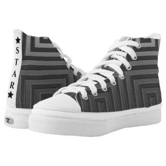 BLACK STAR-High Top Shoes,sneaker US Men-US Women Printed Shoes