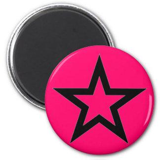 Black Star on Pink - Magnet