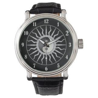 Black Starburst Yin Yang Wristwatches