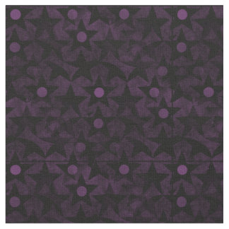Black Stars and Purple Dots Fabric
