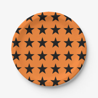 Black Stars Orange Paper Plate