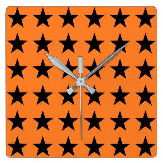 Black Stars Orange Square Wall Clock