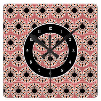 Black stars pattern square wall clock