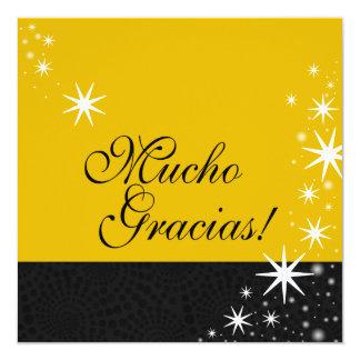 Black Stars Quinceañera Mucho Gracias Note Card Personalized Announcement