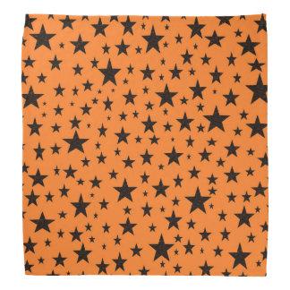 Black Stars With Orange Background Bandana