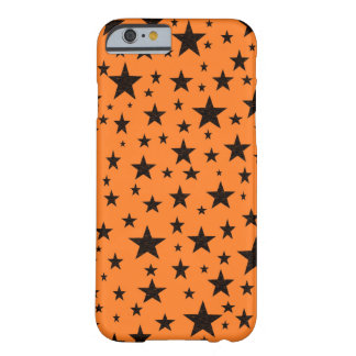 Black Stars With Orange Background Barely There iPhone 6 Case