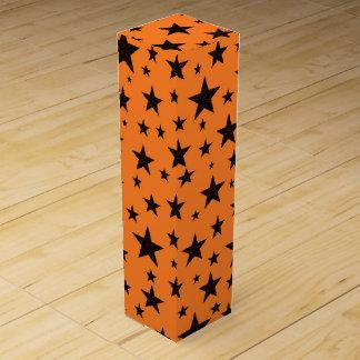 Black Stars With Orange Background Wine Box