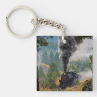 Black Steam Engine  Keychain