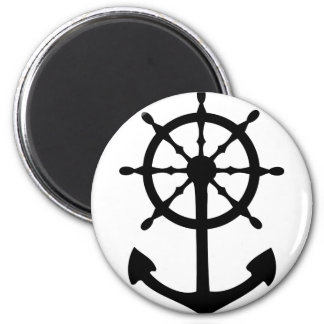 black steering wheel anchor icon 6 cm round magnet