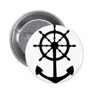 black steering wheel anchor icon button