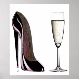 Black Stiletto Shoe and Champagne Print