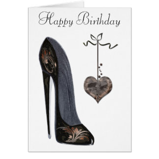 Black Stiletto Shoe and Heart Art Greeting Card