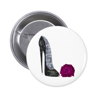 Black Stiletto Shoe and Red Rose Art Pinback Buttons