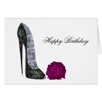 Black stiletto shoe and red rose art greeting card