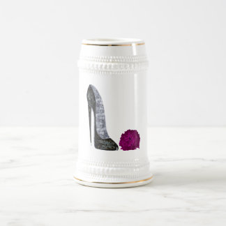 Black Stiletto Shoe and Red Rose Art Coffee Mugs