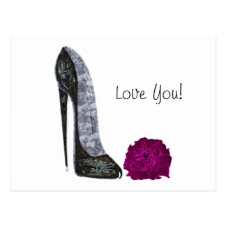 Black Stiletto Shoe and Red Rose Art Postcard