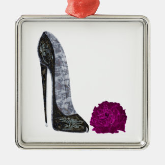 Black Stiletto Shoe and Red Rose Art Silver-Colored Square Decoration
