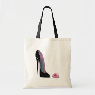 Black Stiletto Shoe and Rose Canvas Bags