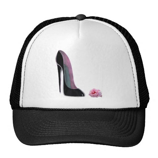 Black Stiletto Shoe and Rose Mesh Hats