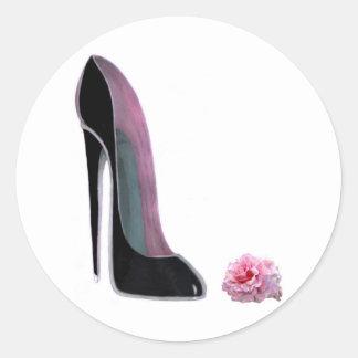 Black Stiletto Shoe and Rose Round Sticker
