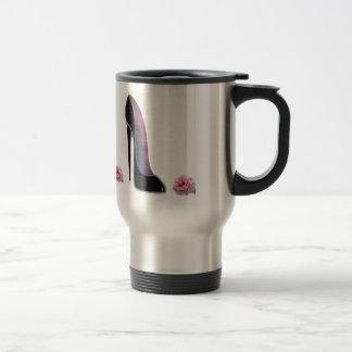 Black Stiletto Shoe and Rose Stainless Steel Travel Mug