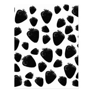Black strawberries  pattern postcard