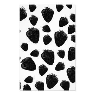 Black strawberries  pattern stationery paper