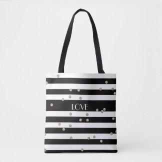 Black Stripe and Gold Confetti Tote Bag