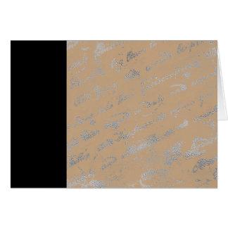 Black Stripe and Silvery words dark tan notecard
