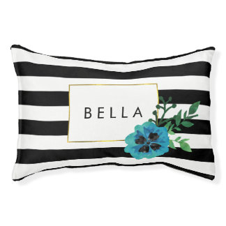 Black Stripe & Blue Floral Personalized Dog Bed
