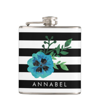 Black Stripe & Blue Floral Personalized Flask