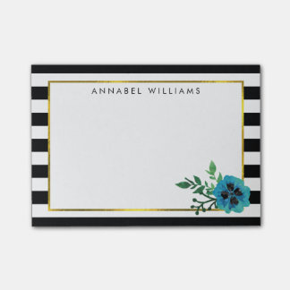 Black Stripe & Blue Floral Sticky Notes