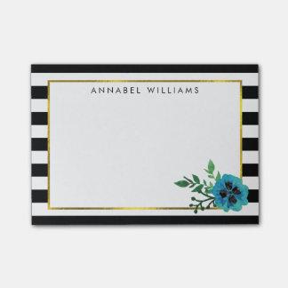 Black Stripe & Blue Floral Sticky Notes