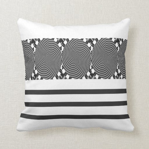Black Stripe Circle American MoJo Pillow